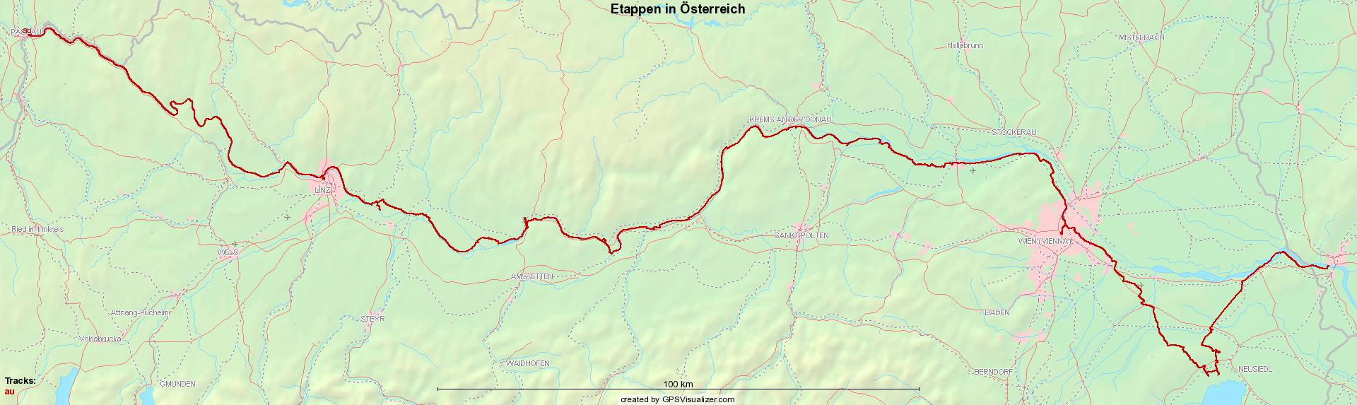 Etappen in Österreich