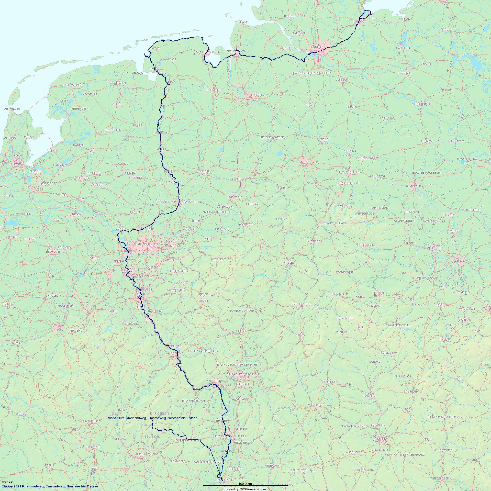 Etappen Rhein, Ems, Nord- und Ostsee