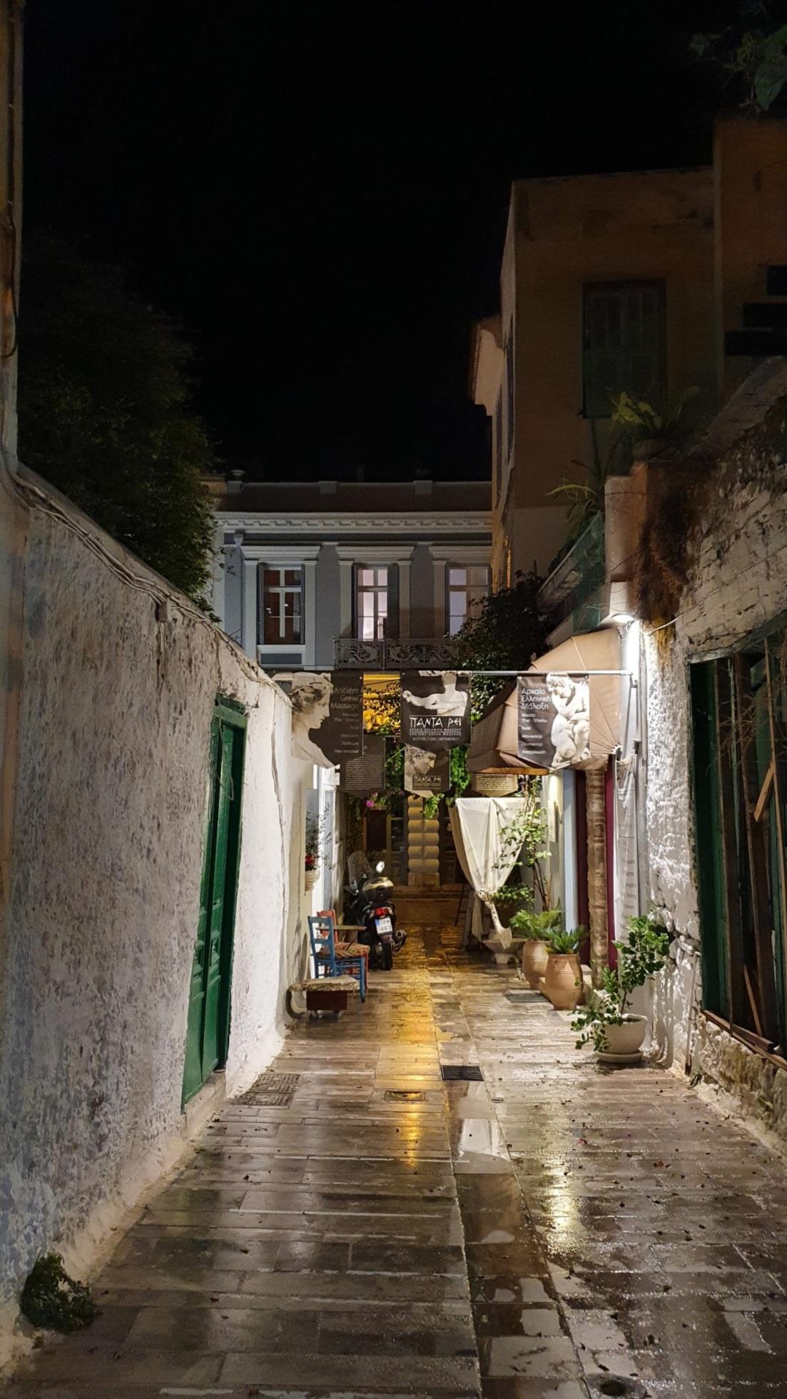 Nafplio bei Nacht nach dem Unwetter