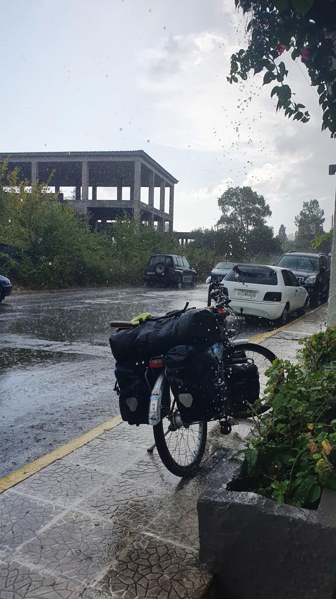 Regen in Gouvia auf Korfu